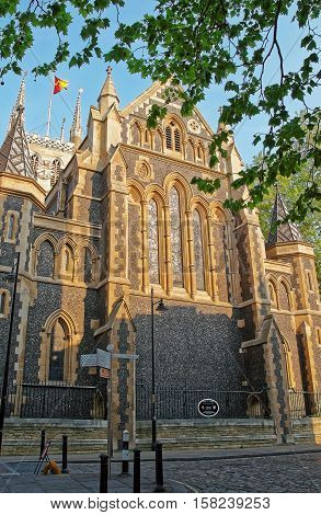 Facade Of Southwark Cathedral In London
