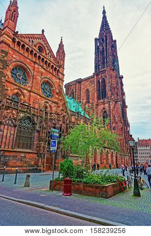 Facade Of Strasbourg Cathedral At Grand East Region France