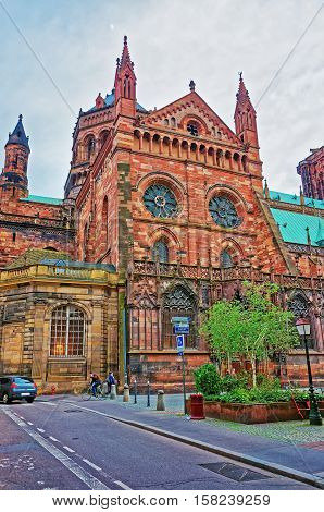 Facade Of Strasbourg Cathedral In Grand East Region France