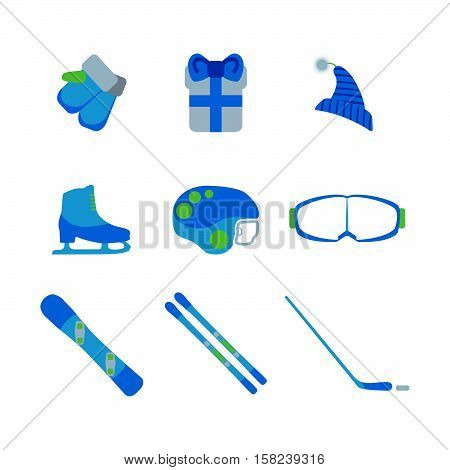 Christmas Items And Winter Sports Equipment Collection On White Background. Flat Isolated Set Icon.
