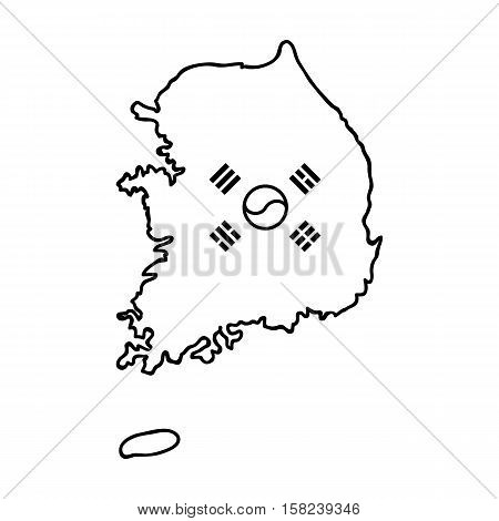 South Korea icon in outline style isolated on white background. South Korea symbol vector illustration.