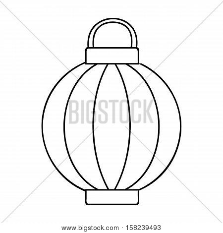 Korean lantern icon in outline style isolated on white background. South Korea symbol vector illustration.
