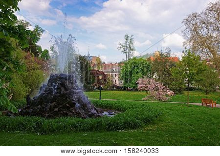 Fountain In Lichtentaler Allee Park In Baden Baden