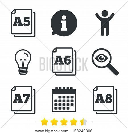 Paper size standard icons. Document symbols. A5, A6, A7 and A8 page signs. Information, light bulb and calendar icons. Investigate magnifier. Vector