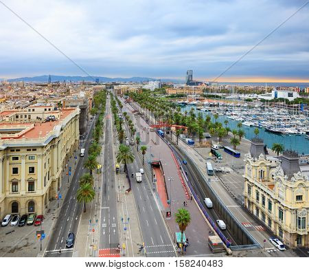 Barcelona harbor and port Vell from Columbus statue viewpoint, Spain