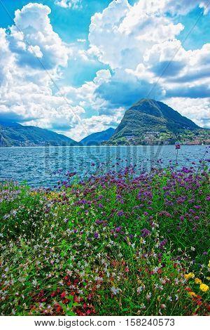 Garden Park At Promenade In Lugano Of Ticino Switzerland