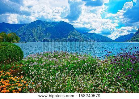 Garden Park At Promenade In Lugano Of Ticino In Switzerland