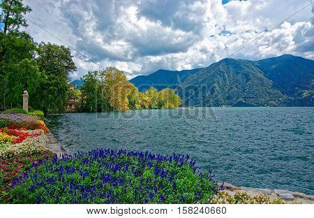 Garden Park At Promenade Of Lugano In Ticino Switzerland