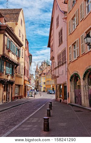 Grand Rue Street In Colmar At Alsace In France