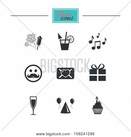 Party celebration, birthday icons. Musical notes, air balloon and champagne glass signs. Gift box, fireworks and cocktail symbols. Black flat icons. Classic design. Vector