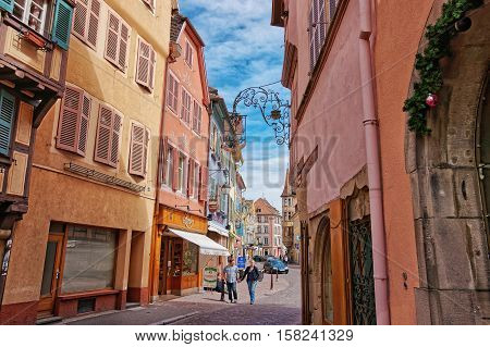 Grand Rue Street In Colmar Of Alsace Of France