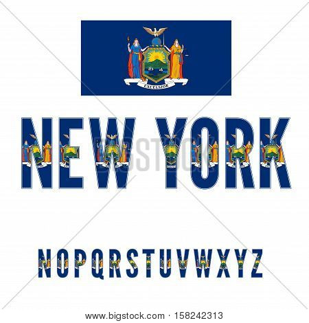 New York USA state flag font. Alphabet characters stylized by state flag. Vector typeset part 1, letters n-z