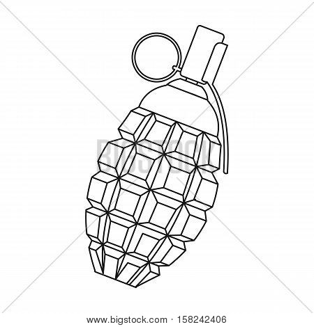 Grenade icon outline. Single weapon icon from the big ammunitio, arms outline.