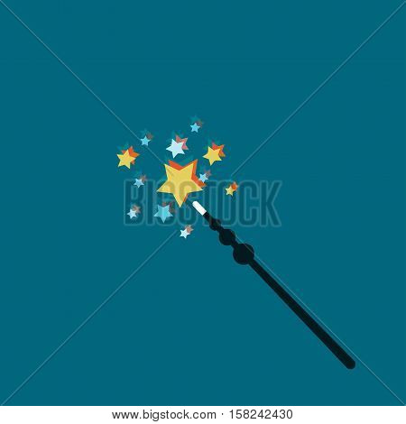 Magic Wand Vector illustration Magic wands with glowing stars on a blue background Flat design