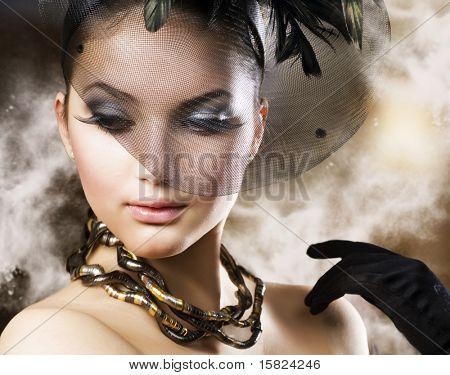 Romantic Beauty Portrait . Retro style