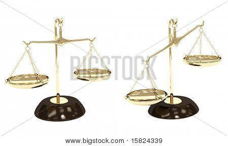 Gold scales. Objects isolated over white