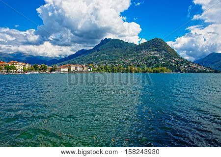 Lake Lugano And Mountains In Ticino  Of Switzerland