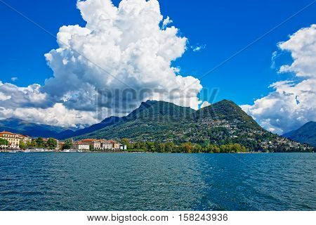 Lake Lugano And Mountains In Ticino In Switzerland