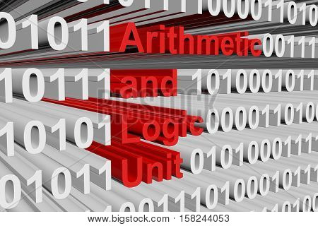 arithmetic and logic unit in the form of binary code, 3D illustration