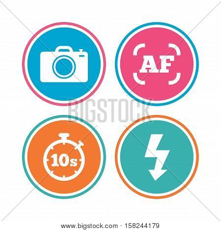 Photo camera icon. Flash light and autofocus AF symbols. Stopwatch timer 10 seconds sign. Colored circle buttons. Vector