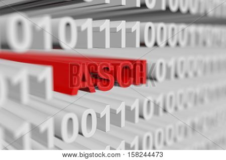 ASCII as binary code with blurred background 3D illustration