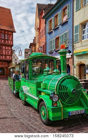 Little Green Train In Colmar In Alsace France