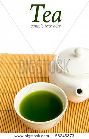 Glass cup of japanese green tea on isolate