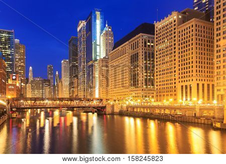 City of Chicago. Image of the Chicago downtown riverside at night.