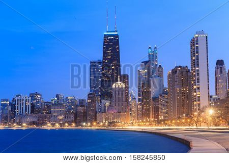 Chicago city urban skyscraper building at twilight
