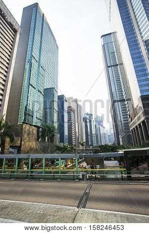 Modern Glass Skyscrapers And Hong Kong Island