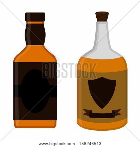 Rum bottles set. Alcohol drink flat style design. Vector illustration. Rum, whiskey, brandy, liquor for pubs, restaurants, hipster bars