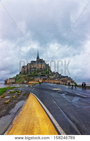 Mont Saint Michel Of Normandy At Manche In France
