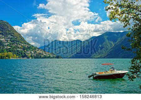 Motor Boat At Embankment In Lugano In Ticino In Switzerland