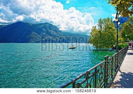 Motor Boat At Embankment In Lugano In Ticino Of Switzerland
