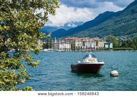Motor Boat At Promenade In Lugano Ticino Switzerland