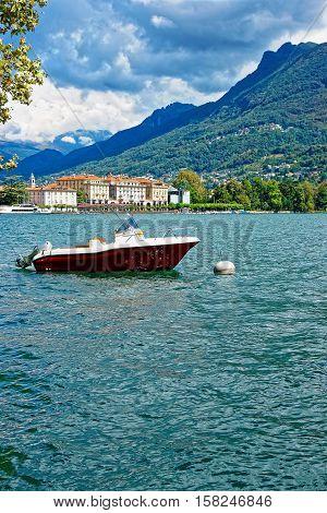 Motor Boat At Promenade In Lugano Ticino In Switzerland