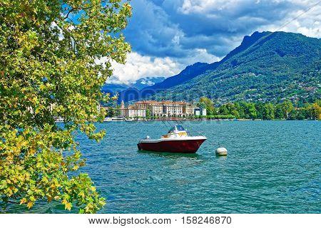 Motor Boat At Promenade In Lugano Of Ticino Switzerland