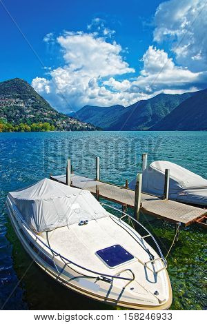 Motor Boats At Promenade Lugano Ticino In Switzerland
