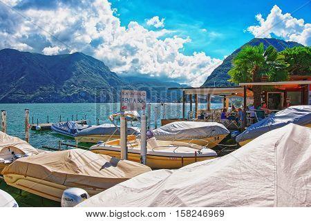Motor Boats At Promenade In Lugano Ticino In Switzerland
