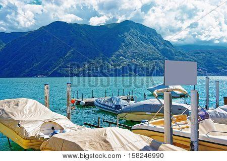 Motor Boats At Promenade In Lugano Of Ticino In Switzerland