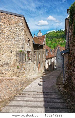 Narrow Street In Besancon In Bourgogne Franche Comte In France