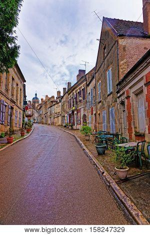 Narrow Street In Vezelay In Bourgogne Franche Comte In France