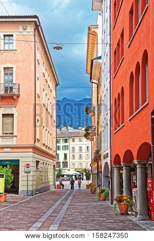 Nassa Street In City Center In Lugano In Ticino Switzerland