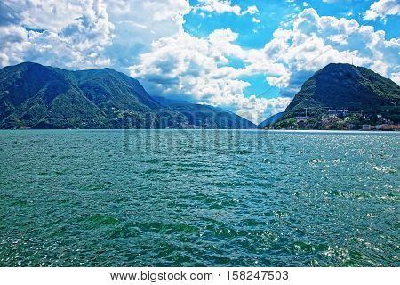 Nature Of Lake Lugano And Mountains Ticino In Switzerland