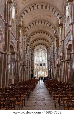 Nave At Vezelay Abbey In Bourgogne Franche Comte In France