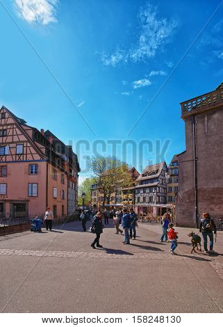 Old City Center In Colmar At Alsace France