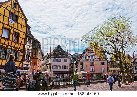 Old City Center In Colmar In Alsace In France