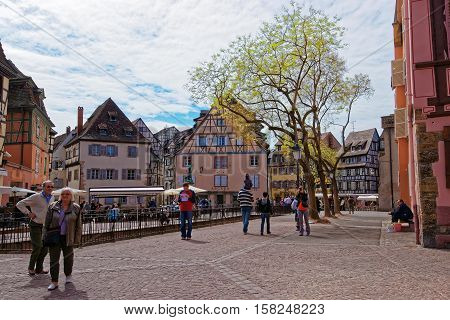Old City Center Of Colmar In Alsace Of France