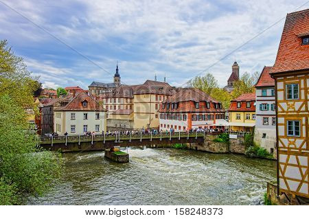 Old Houses And Regnitz River In Old City Center Bamberg