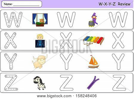 Cartoon Witch, Window, X-ray Boy, Xylophone, Yak, Yacht, Zebra And Zipper. Alphabet Tracing Workshee